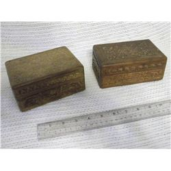 2 Tramp Art Boxes, Hand Carved