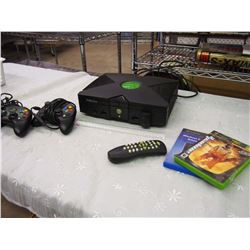 Original Xbox Console W/ Cords, 2 Controllers, Remote, Media Center Extender, And Amped 2