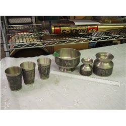 Collection Of Pewter Pieces, Embossed (Candlestick, Bowl, Tumblers)