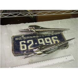 1962 Cadillac Fender Ornaments And Sask License Plate