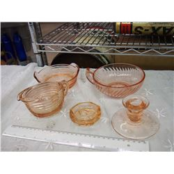 Pink Depression Glass (5 Pieces) (No Chips Or Cracks)
