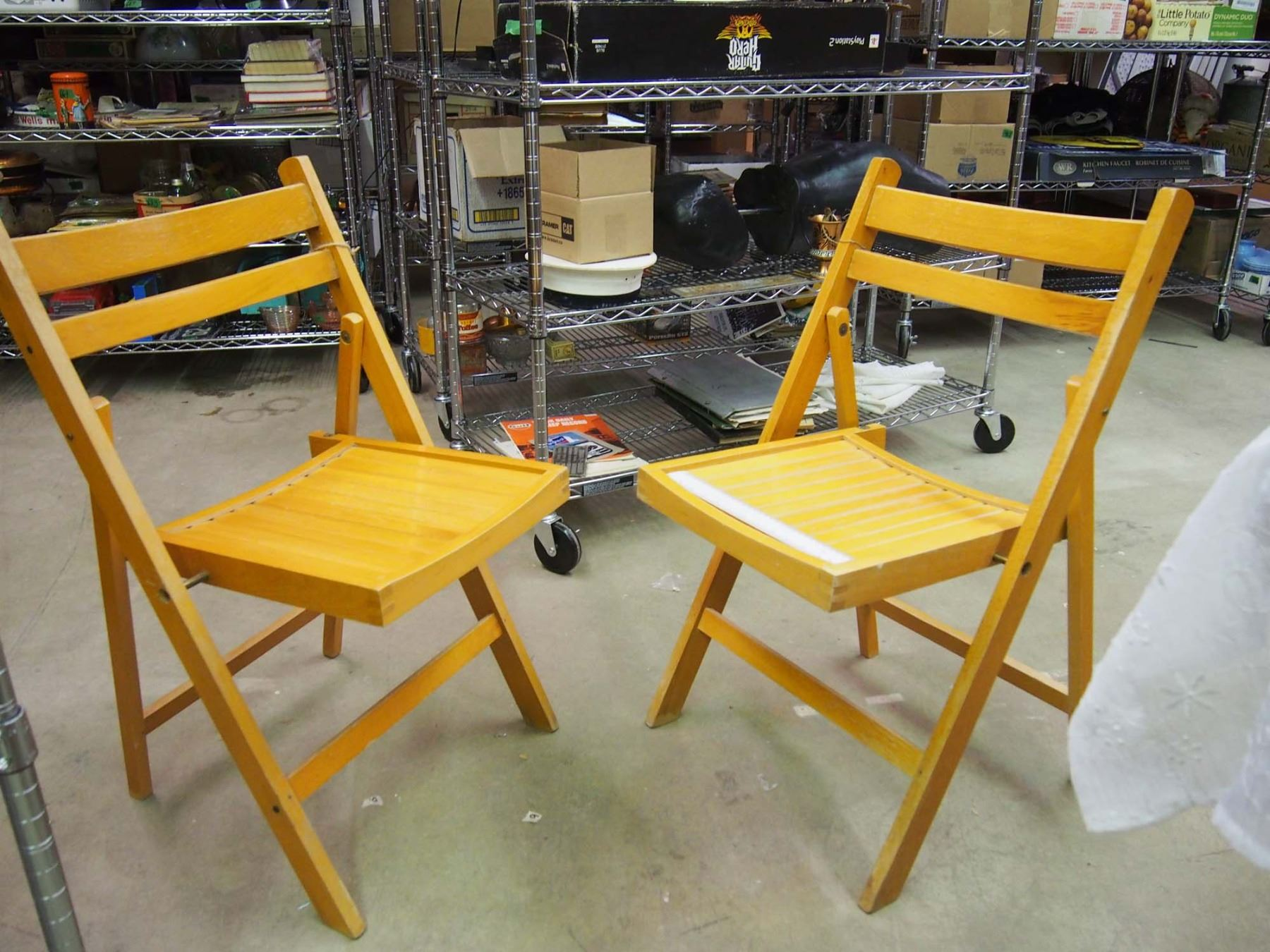 Image 1 : Pair Of Vintage Wooden Folding Chairs (1940 50) ...