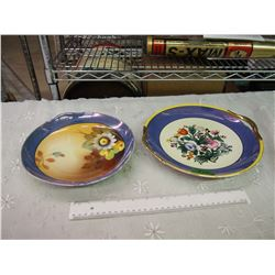 Two Noritake Handled Hand Painted Plates (Noi Chips Or Cracks)