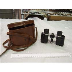 French Early Binoculars In Leather Case