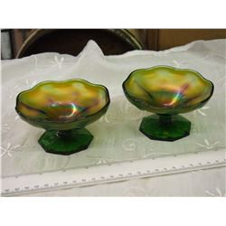 Pair Of Iridescent Greenish Purple Carnival Glass Sherbet Candy Dishes, No Chips Or Cracks