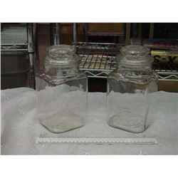 Pair Of Glass Candy Jars, (Great Shape)