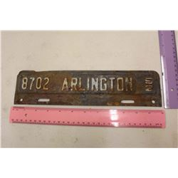 Antique Road Sign '8702 Arlington 52'