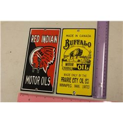 Porcelain Reproduction Signs(2): Red Indian Motor Oils & Buffalo Motor Oil
