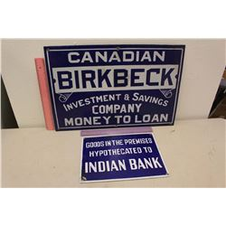 "Porcelain Signs(2):Canadian Birkbeck (21""x14"")& Indian Bank(12""x9"")"