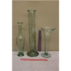3 Glass Vases