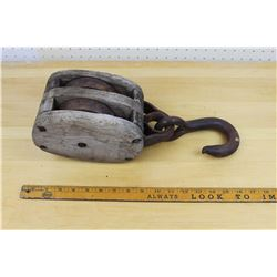 "Large 15.5"" Wood Block and Tackle farm Pulley"
