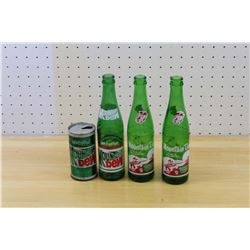 Vintage Mountain Dew Bottles (3) and A Can