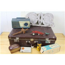 Lot of Vintage Misc: Suitcase, Bread Bank, Radio, Turret Case, Etc.