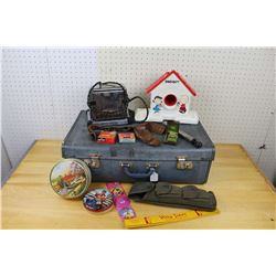 Lot of Vintage Misc: Suitcase, Snoopy Toy, Holster, Ring, etc.