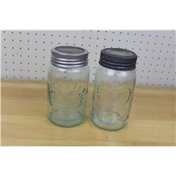 Aqua Antique Crown Mason Jars (2)