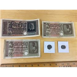 Lot of Nazi Germany Coins & Bills