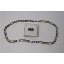 Gent's Stainless Steel Link Chain & Ring (Size Med)
