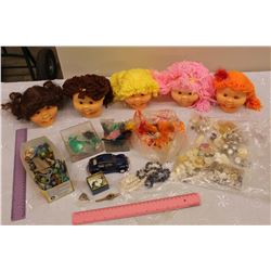 Lot of Vintage Misc (Cabbage Patch Heads, Marbles, Buttons, Etc)