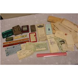 Lot of Vintage Misc (Advertising Rulers, Twinplex Sharpener, Letters, Etc)