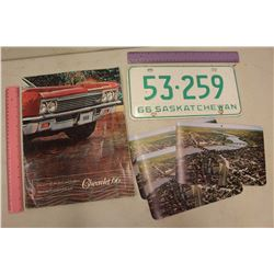1966 Chevrolet Dealer Brochure, 1966 Sask Plate& 1950s Postcards