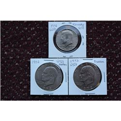 US Liberty Silver Half Dollar & One Dollar Coins(3): 1972, 1976