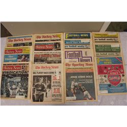 Lot of Vintage Hockey & Football News Newspapers