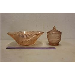 Pink Depression Glass Bowl & Candy Dish