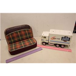 "Huth Silver Knight Toy Semi Truck & Salesman Sample Car Front Seat (10"" x 7.5"")"