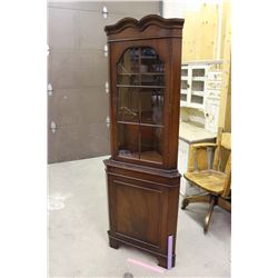 "Wooden Corner Cabinet (70""x26""x15"") w/Glass Window"