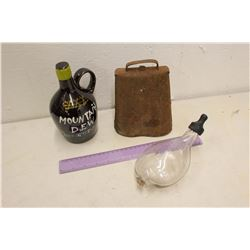 Vintage Medicine Bottle, Cow Bell& Novelty Mountain Dew Jug