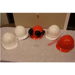 Safety Hard Hat Helmets (5)(New)(1 Including Earmuffs)