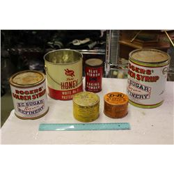 Lot Of Vintage Tins (Honey, Syrup, Baking Powder, Salve, Soap)