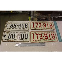 Pair Of Matching 50's Saskatchewan License Plates
