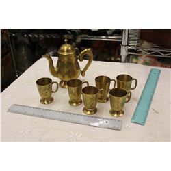 Lot Of Brass Kettle And Cups