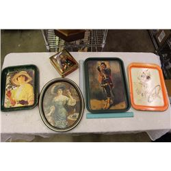 Coco-Cola Trays, A Robin Hood Tray& A Tin Container