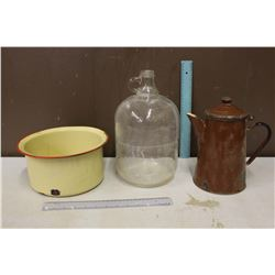 A Glass Jug & Enamel Pieces (2)