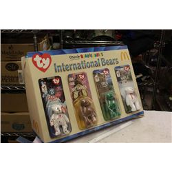 McDonalds International Bears Display, Tennis Beanie Babies, Original Store Display