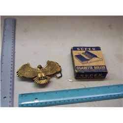 Cigarette Roller W/ Brass Eagle Belt Buckle (1980, Solid Brass)