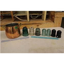 3 Qt. Copper Cooking Pot w/Brass Handles& An Assortment of Glass Insulators (7)