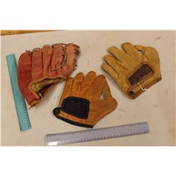 Leather Baseball Gloves (3)(2 From 1940s)