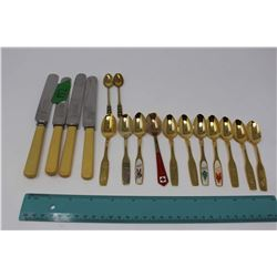 Gold Tone Commemorative (11), 4 Henry King Sheffield Bone Handled Knives