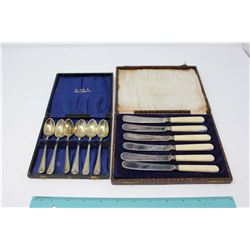 6 EPNS English Teaspoons In Case And 6 EPNs Bone Handled Knives In Case