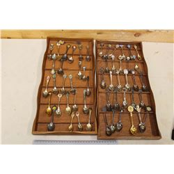 Collectors Teaspoons In Wooden Racks