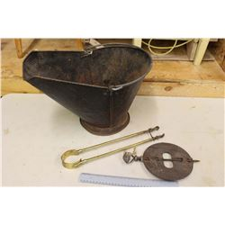 "Coal Pail w/Fireplace Tongs & Griswald 7"" Damper for Stove"