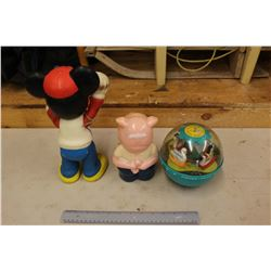 Vintage Toys: Mickey Mouse, Fisherprice 1960s Baby Toy, Plastic Piggy Bank