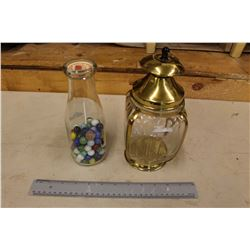 Pint Milk Bottle w/Marbles & A Decorative Musical Jar