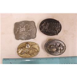 Belt Buckles (4)(1985 National Finals Rodeo, Hesston National Finals 1978&1980, Etc)