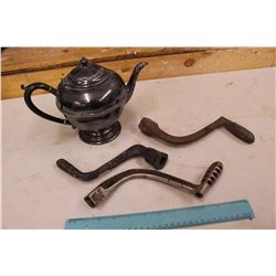 Iron Stove Shakers (3)& A Silver Plate Teapot w/Ebony Handle