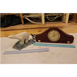 Hand Carved Wooden Bear on Marble Base & A General Electric Brass Faced Clock(Works)