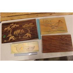 Carved Wooden Decorative Pieces (4)
